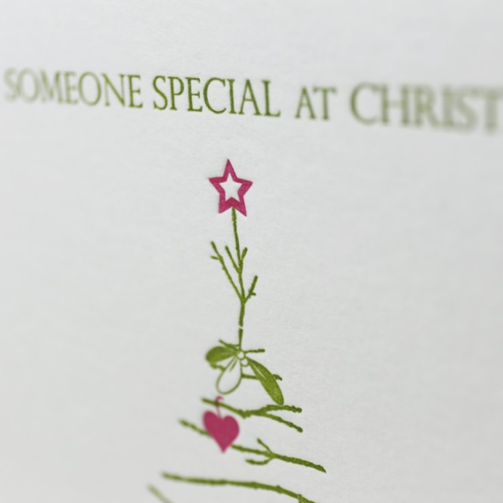 Jacky Al-Samarraie Mistletoe & Hearts Letterpress Christmas Card