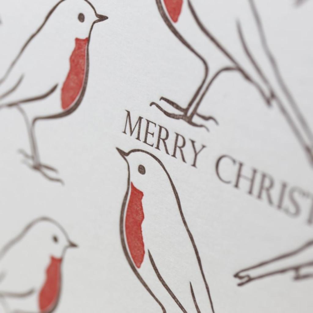 Jacky Al-Samarraie Robin Repeat Letterpress Christmas Card