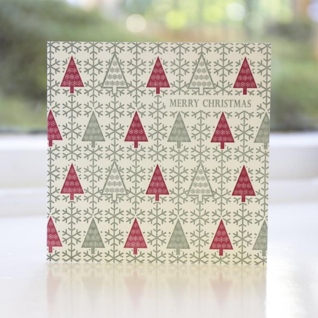 Jacky Al-Samarraie Fairisle Trees Letterpress Christmas Card
