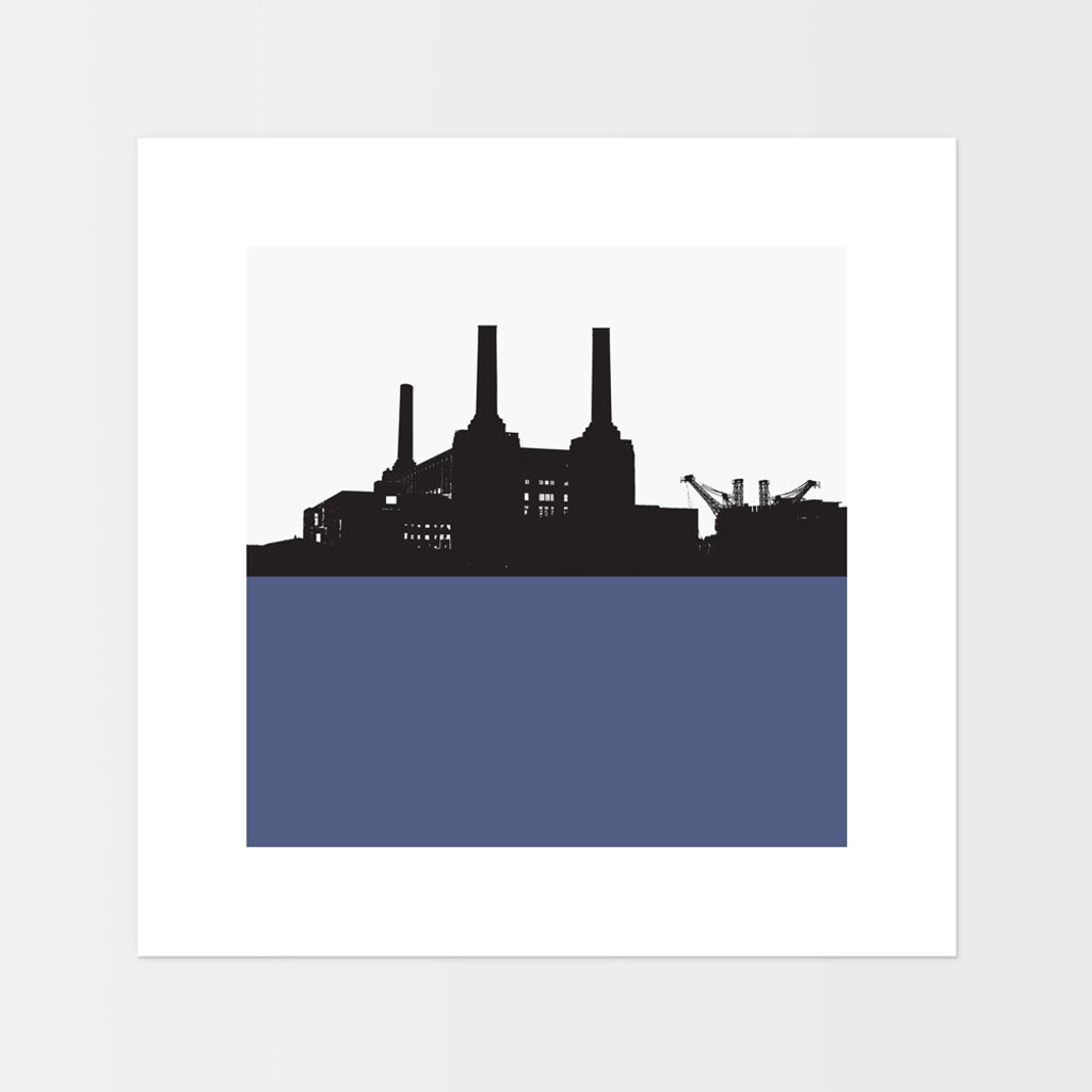 Landscape print of Battersea Power Station in London by designer Jacky Al-Samarraie.  The print is mounted but unframed.  Print colour is blue and is square in shape.