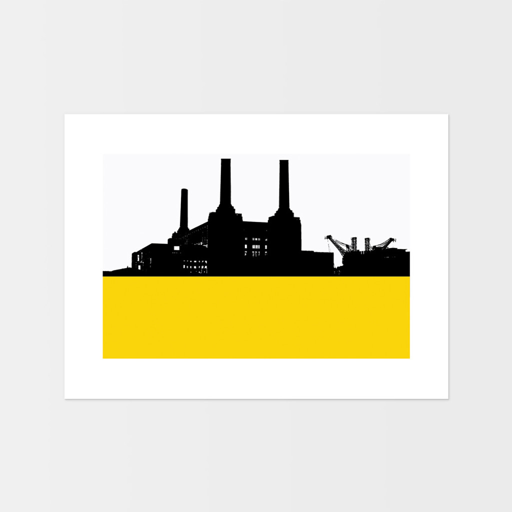 Landscape print of Battersea Power Station in London by designer Jacky Al-Samarraie.  The print is mounted but unframed.  Print colour is yellow and is landscape orientation.