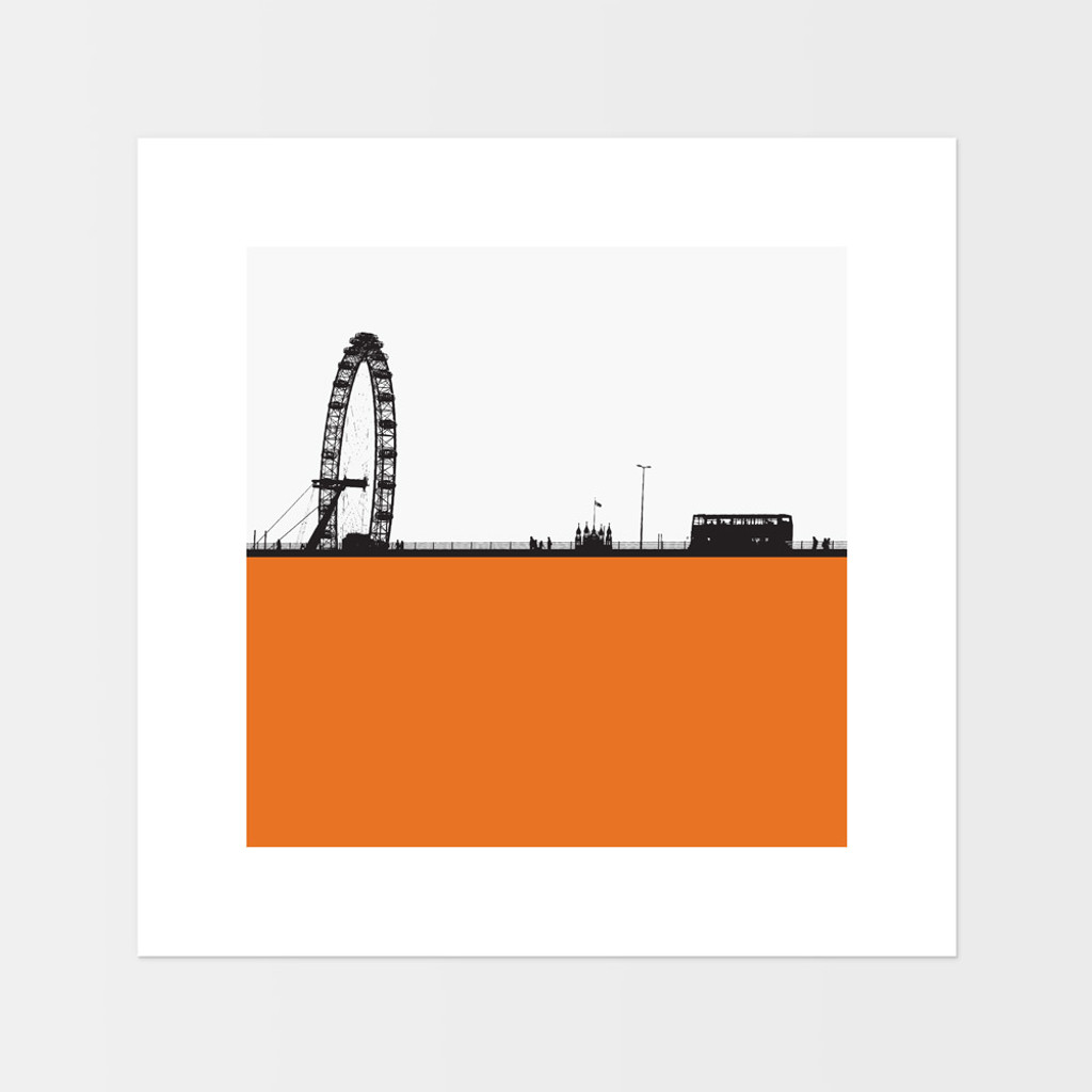 Landscape print of the London Eye in London by designer Jacky Al-Samarraie.  The print is mounted but unframed.  Print colour is orange and the print shape is square.