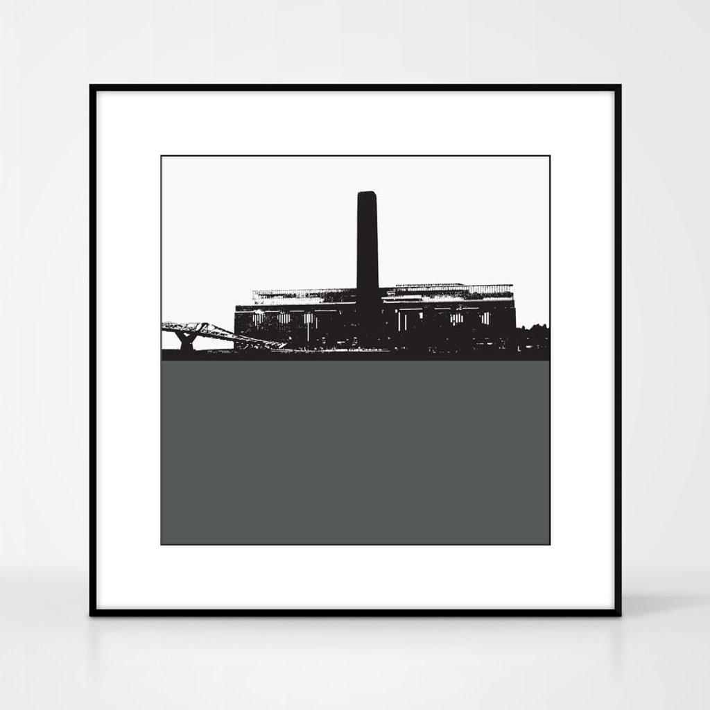 Art print of the Tate Modern in London by designer Jacky Al-Samarraie.  Print colour is grey and the print shape is square.  Shown in frame for reference.