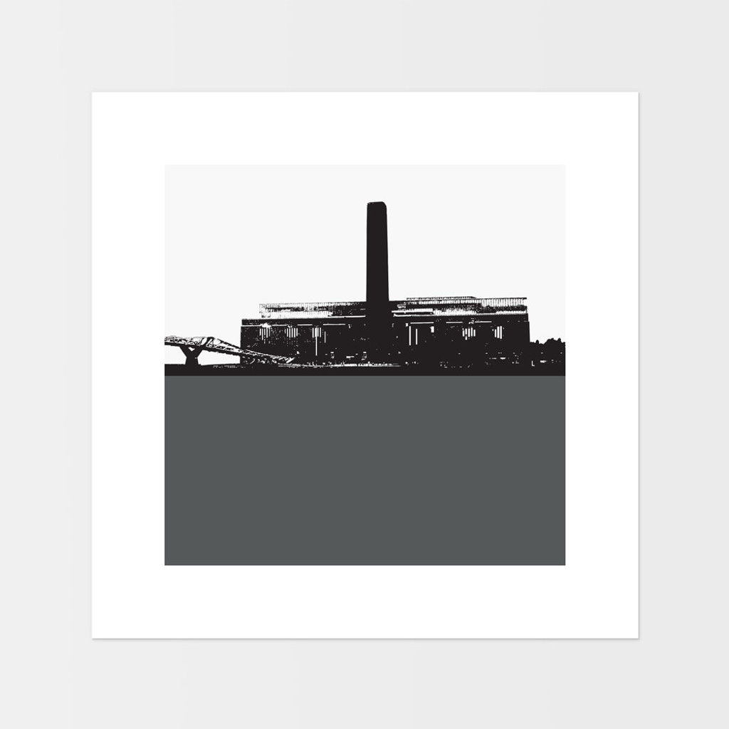 Landscape art print of the Tate Modern in London by designer Jacky Al-Samarraie.  The print is mounted but unframed.  Print colour is grey and the print shape is square.