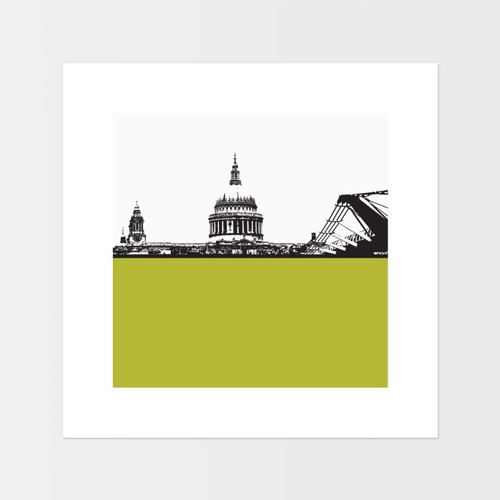Landscape art print of St. Paul's Cathedral and the Millennium Bridge in London by designer Jacky Al-Samarraie.  The print is mounted but unframed.  Print colour is green and is square in shape.