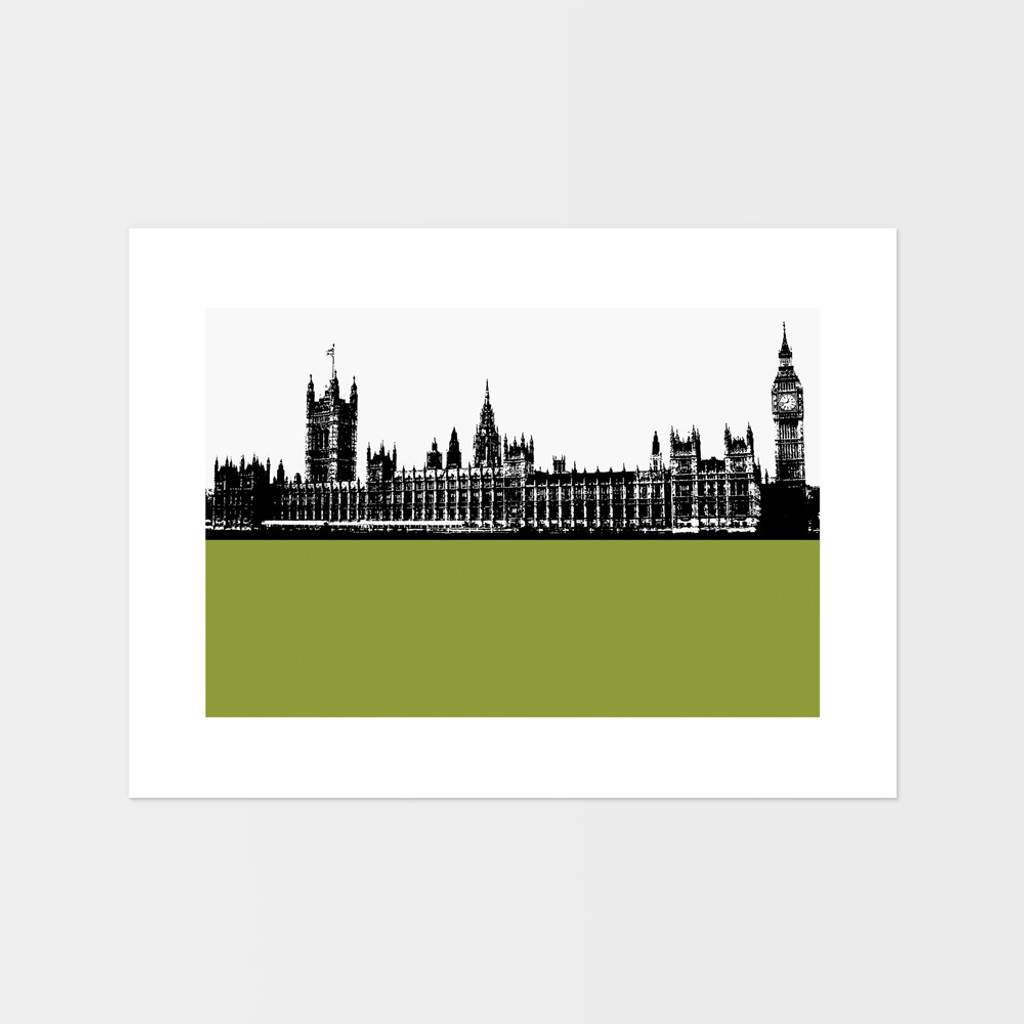 Landscape art print of the Palace of Westminster, also known as the Houses of Parliament in London by designer Jacky Al-Samarraie.  The print is mounted but unframed.  Print colour is green and is landscape orientation.