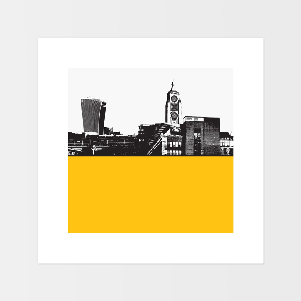 Landscape art print of the OXO Tower and Walkie Talkie building in London by designer Jacky Al-Samarraie.  The print is mounted but unframed.  Print colour is yellow and is square in shape.