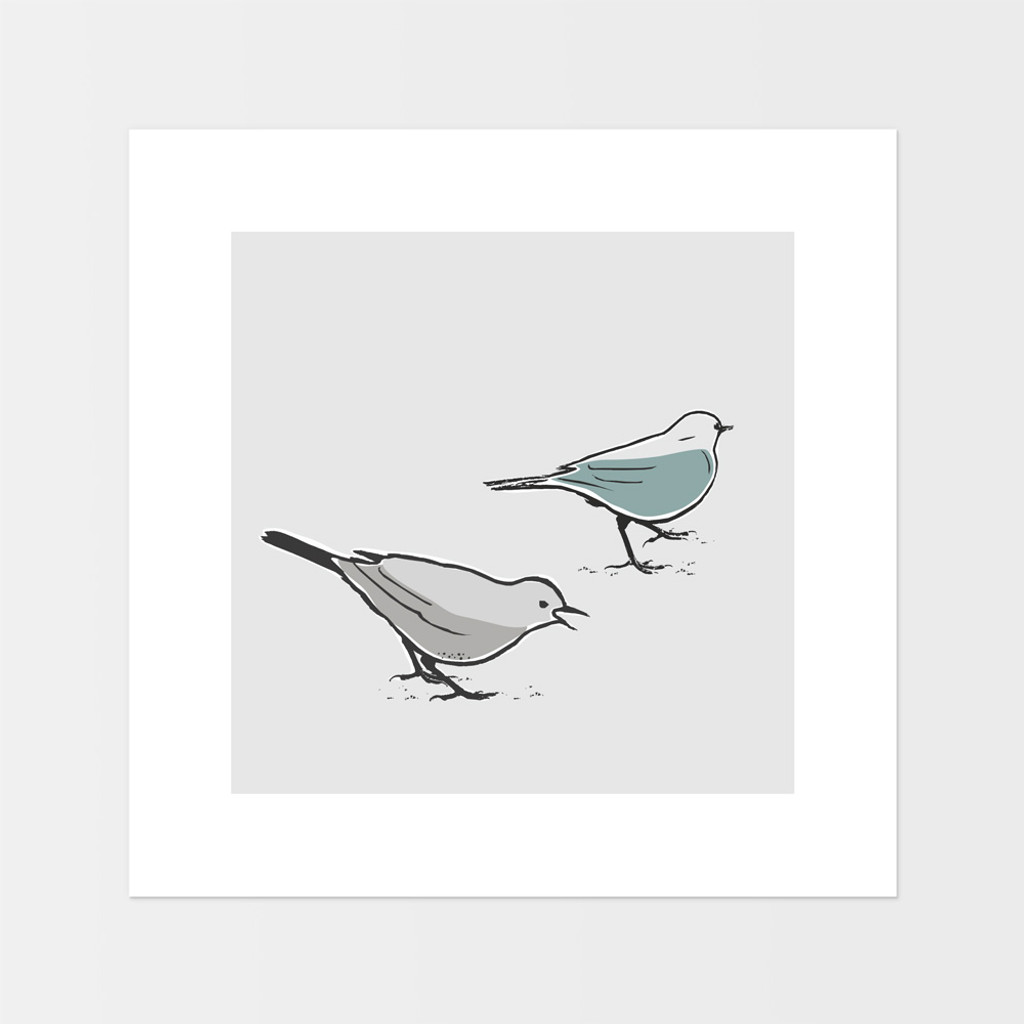 Graphic animal art print of two song thrush birds by designer Jacky Al-Samarraie.  The print is mounted but unframed.