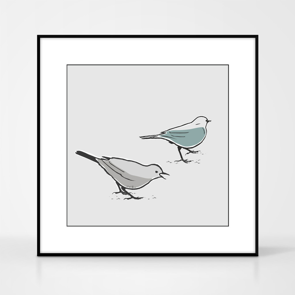 Graphic animal art print of two song thrush birds by designer Jacky Al-Samarraie.  The print comes mounted but is shown in a frame for reference.