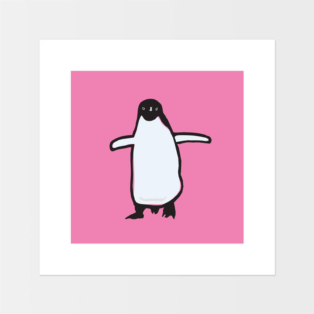 Graphic animal art print of a penguin by designer Jacky Al-Samarraie.  The print is mounted but unframed, and has a pink background colour.