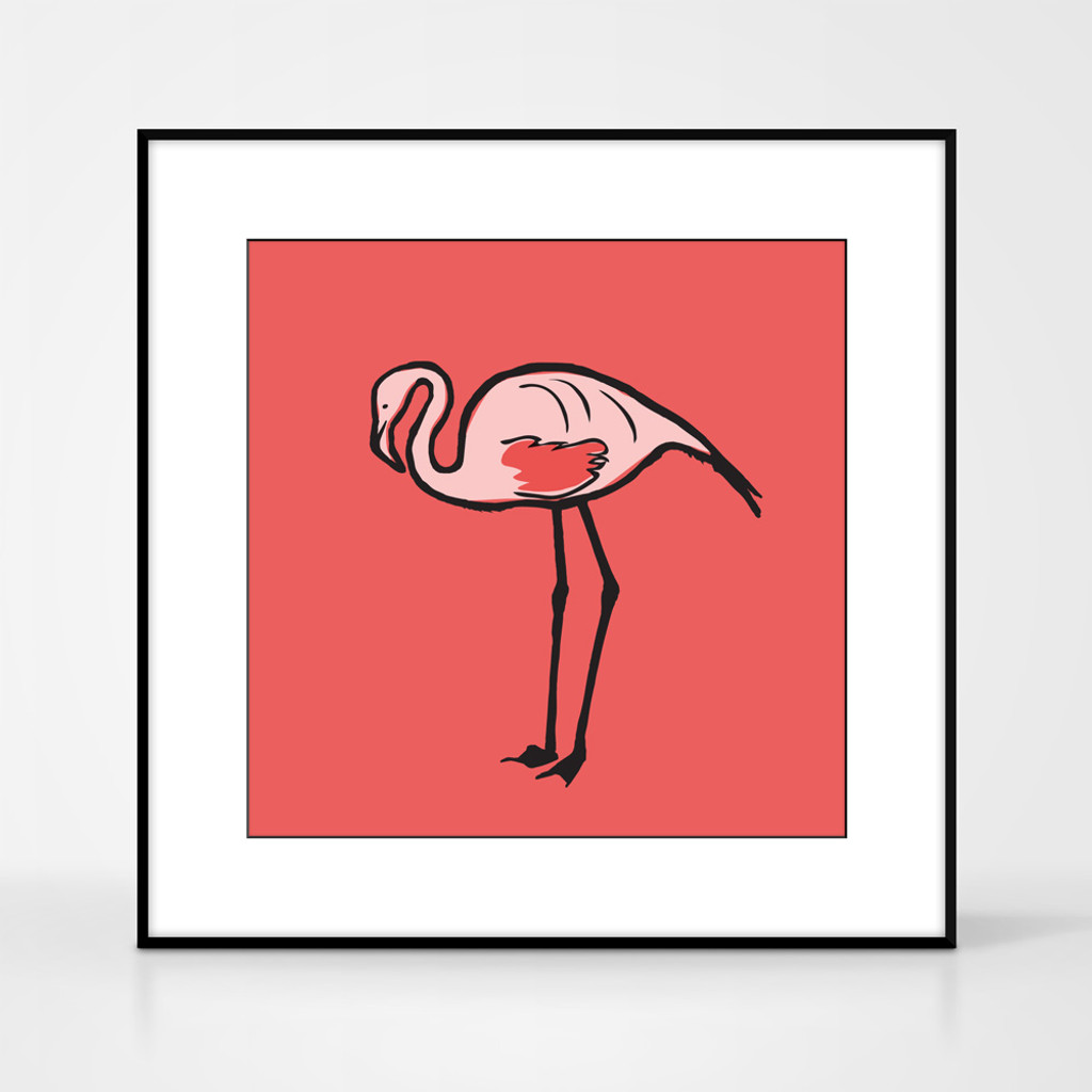Graphic animal art print of a flamingo by designer Jacky Al-Samarraie.  The print comes mounted but is shown in a frame for reference.
