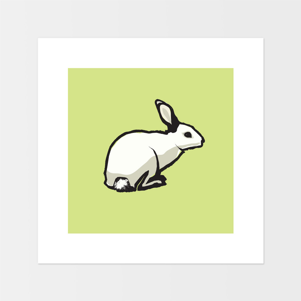 Graphic animal art print of a rabbit by designer Jacky Al-Samarraie.  The print is mounted but unframed.