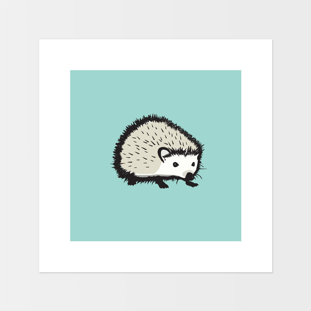 Graphic animal art print of a hedgehog by designer Jacky Al-Samarraie.  The print is mounted but unframed.