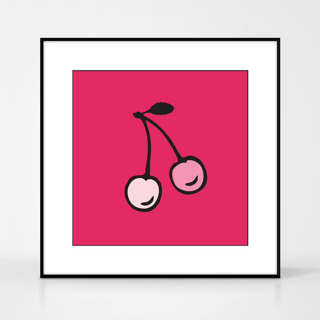 Graphic art print of cherries by designer Jacky Al-Samarraie.  The print comes mounted but is shown in a frame for reference.