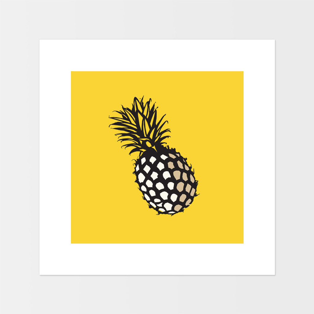 Graphic art print of pineapple fruit by designer Jacky Al-Samarraie.  The print is mounted but unframed, with an orange background colour.
