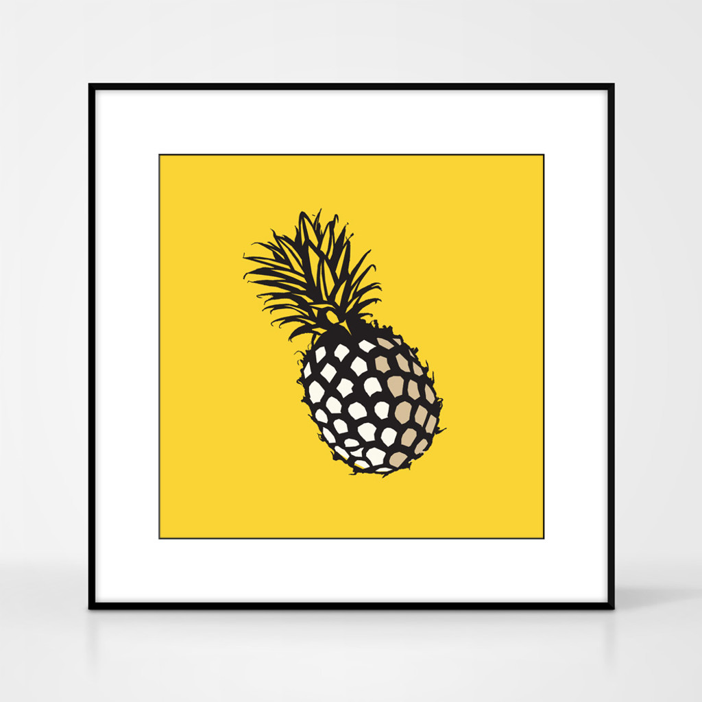 Graphic art print of pineapple by designer Jacky Al-Samarraie.  The print comes mounted but is shown in a frame for reference. It has an orange background colour.