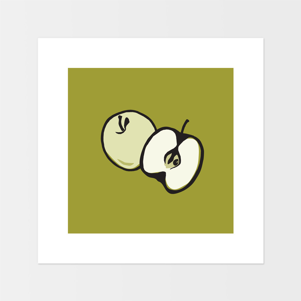 Graphic art print of green apple by designer Jacky Al-Samarraie.  The print is mounted but unframed.