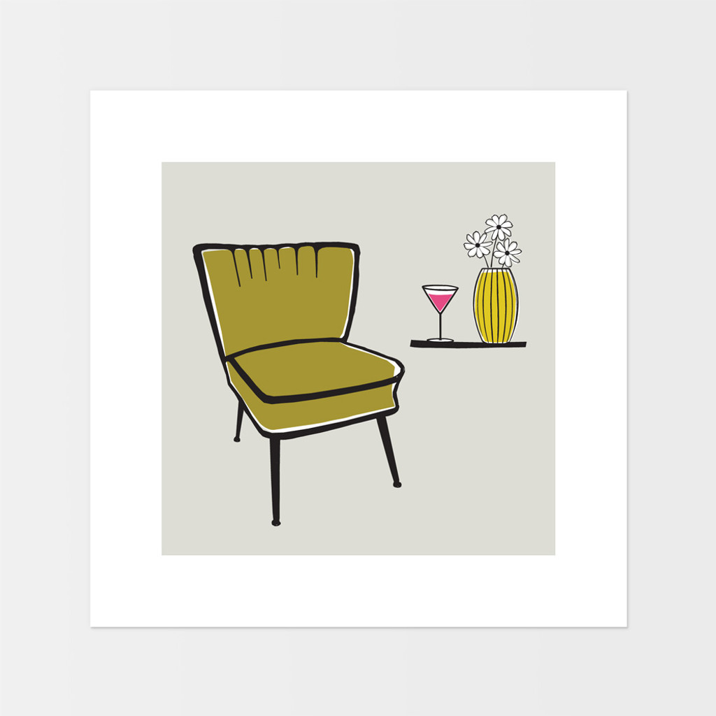 Graphic art print of vintage cocktail chair by designer Jacky Al-Samarraie.  The print is mounted but unframed.