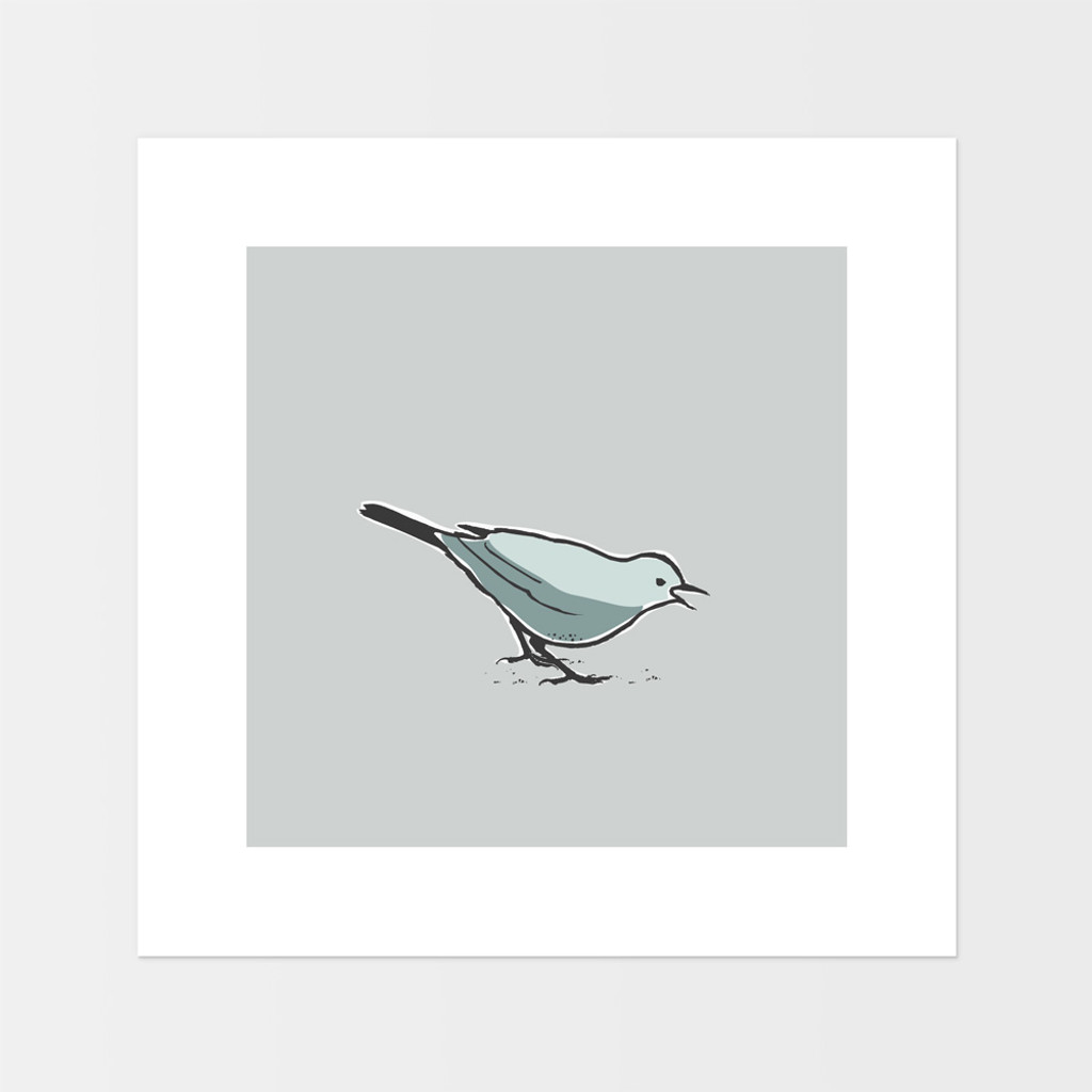 Graphic art print of a song thrush bird by designer Jacky Al-Samarraie.  The print is mounted but unframed.