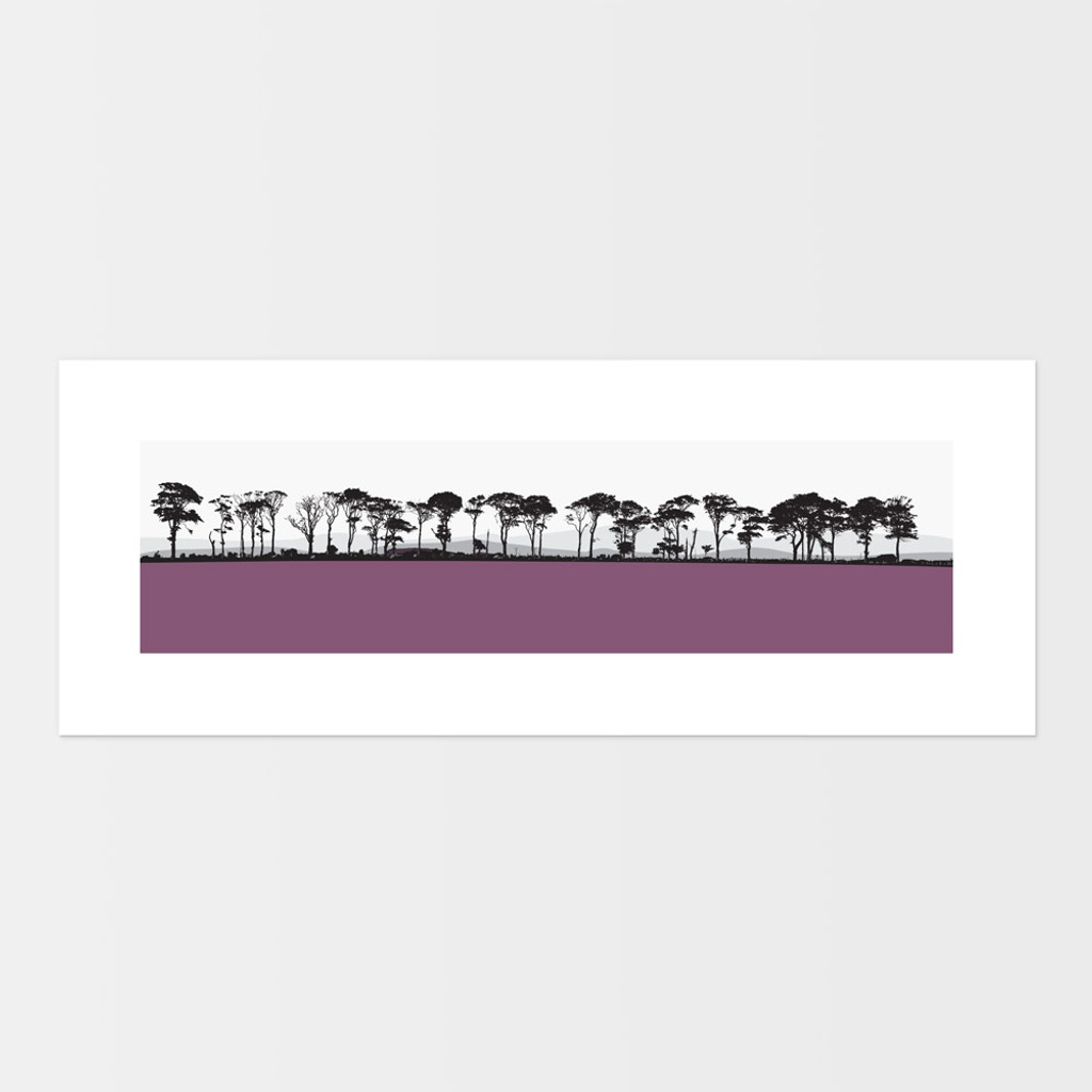 Landscape print of Northumberland countryside by designer Jacky Al-Samarraie.  The print is mounted but unframed.  Print colour is pink.