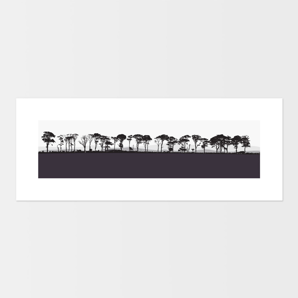 Landscape print of Northumberland countryside by designer Jacky Al-Samarraie.  The print is mounted but unframed.  Print colour is aubergine.