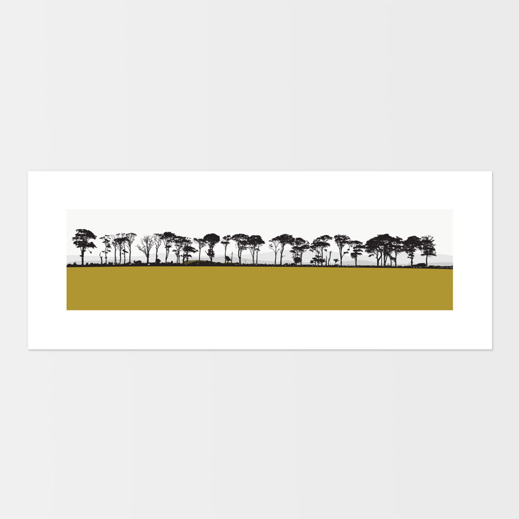 Landscape print of Northumberland countryside by designer Jacky Al-Samarraie.  The print is mounted but unframed.  Print colour is mustard.