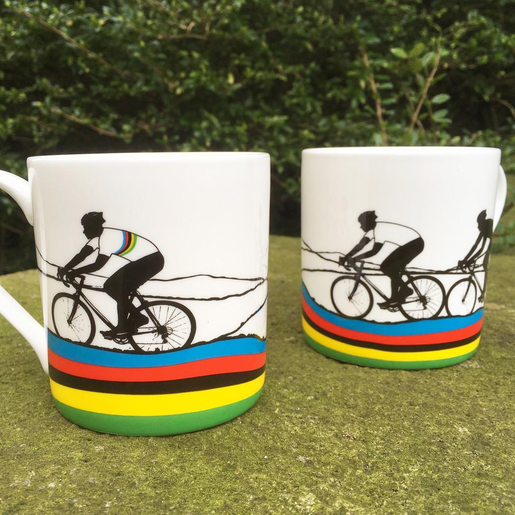Rainbow Jersey Mug three cyclists