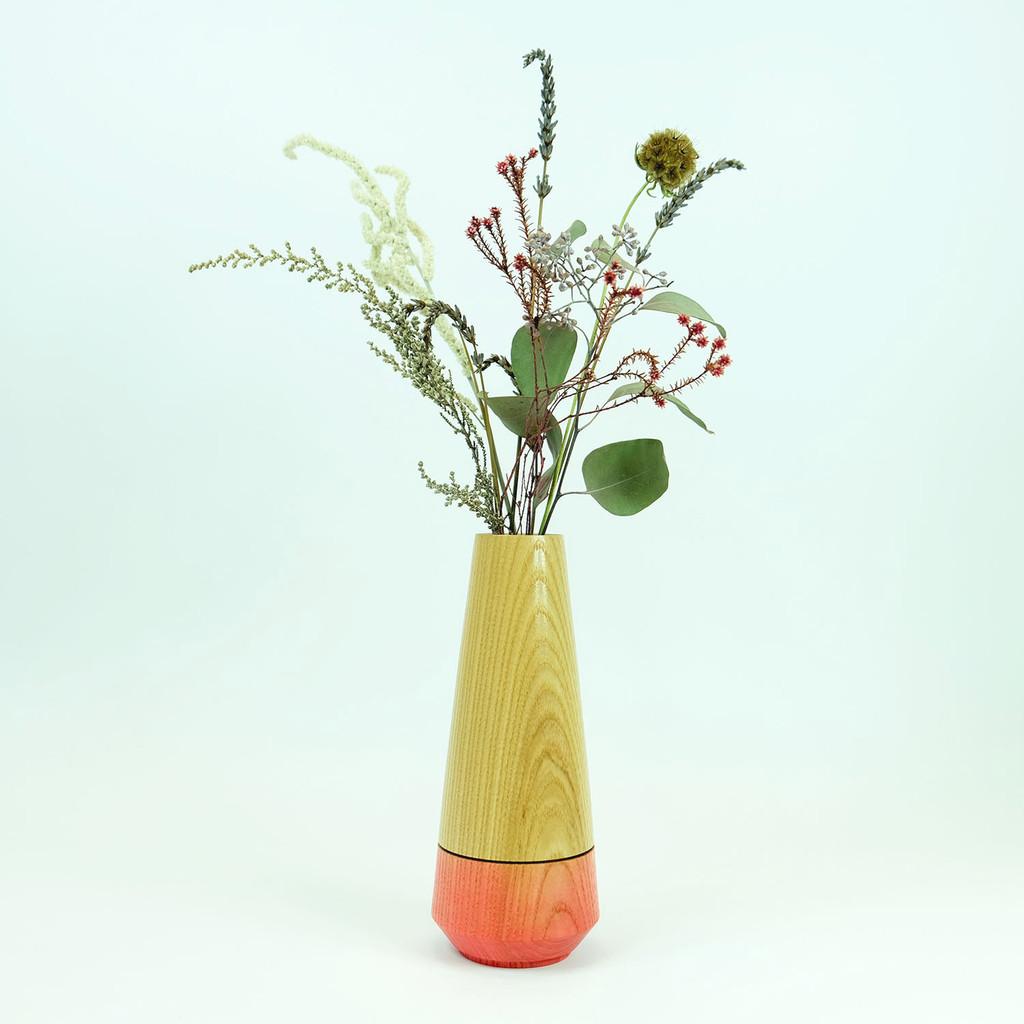 Pink handmade wood stem vase by Jacky Al-Samarraie