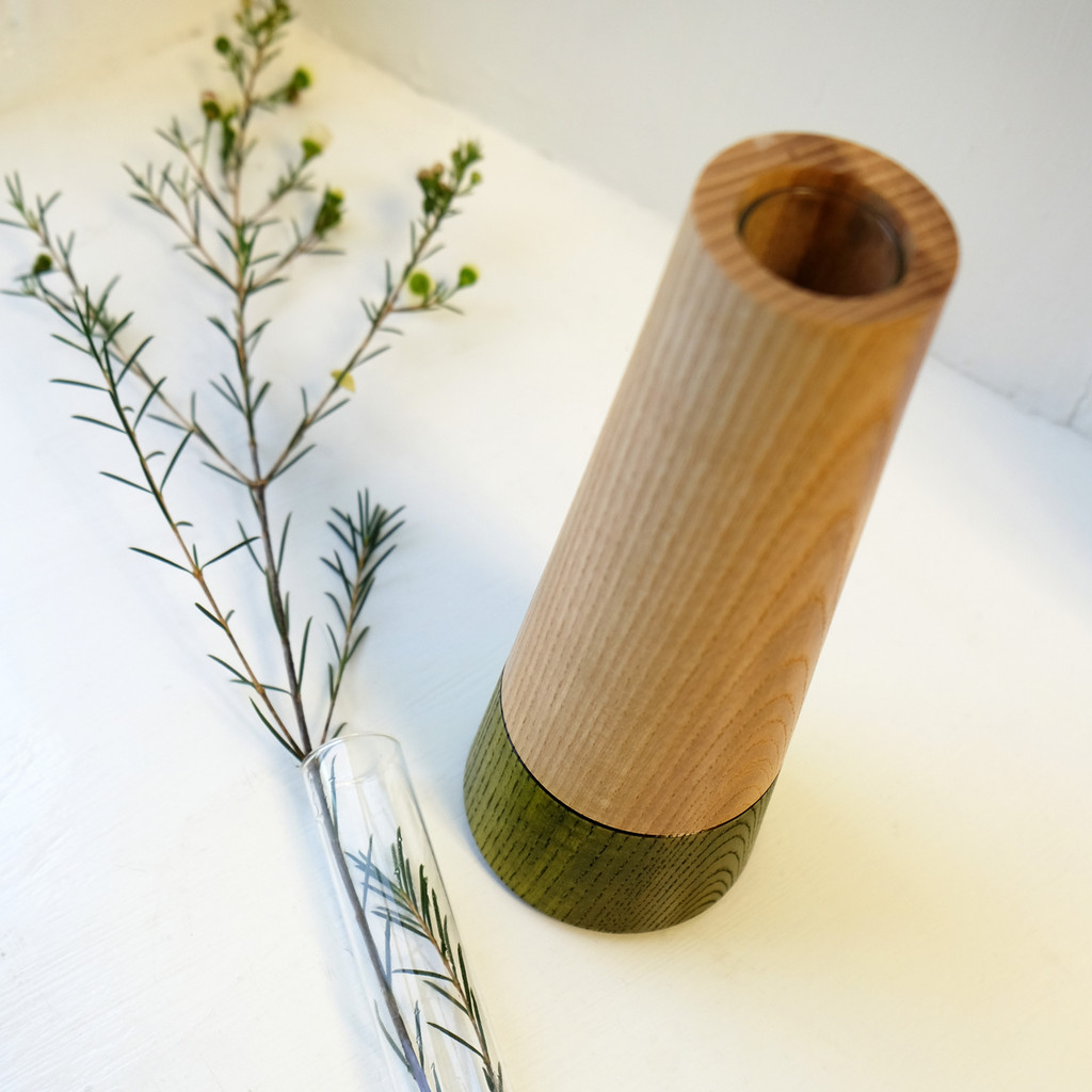 Green Wood Stem Vase with Glass Tube