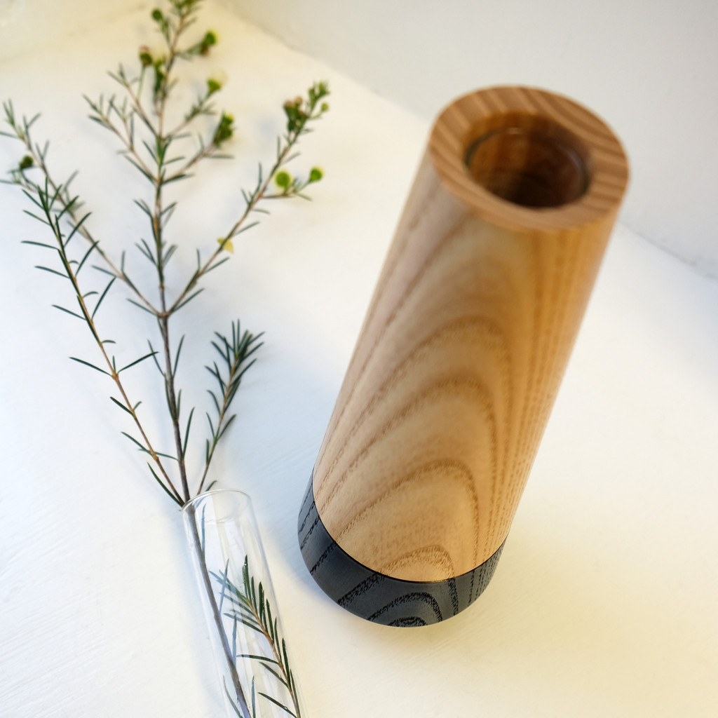 Blue Wood Stem Vase with Glass Tube