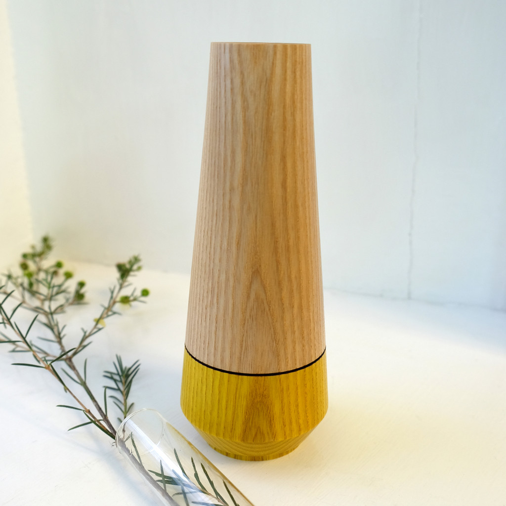 Yellow Wood Stem Vase with Glass Tube