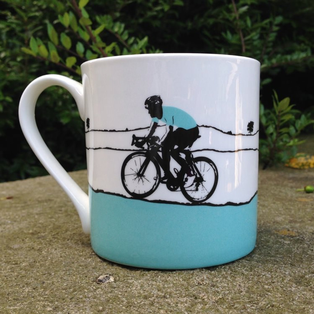 Male Cyclist Bone China Mug