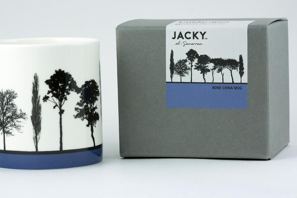 Jacky Al-Samarraie Blue Landscape Tree Bone China Mug with Gift Box