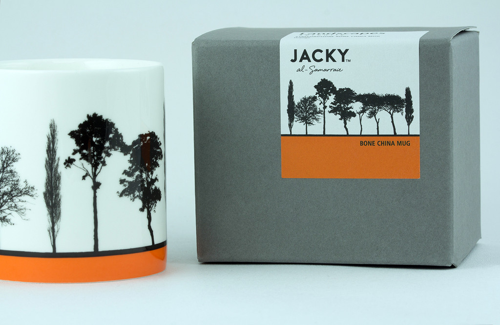 Jacky Al-Samarraie Orange Landscape Tree Bone China Mug with Gift Box