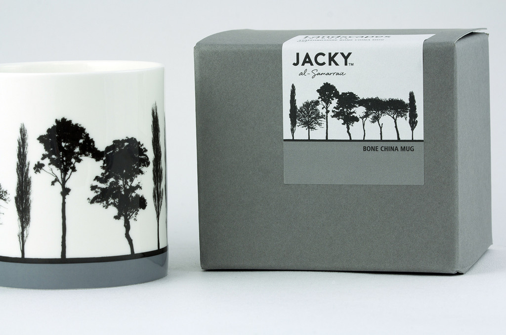 Jacky Al-Samarraie Grey Landscape Tree Bone China Mug with Gift Box