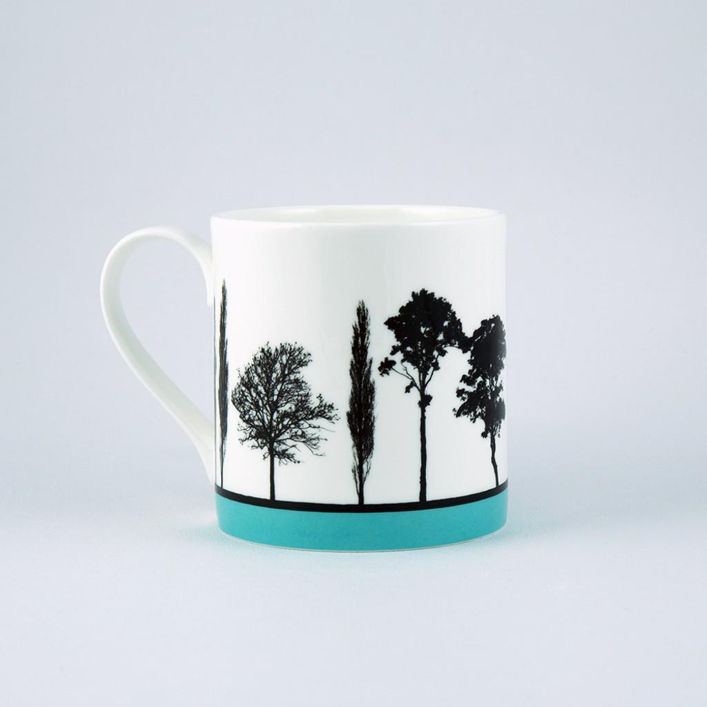 Jacky Al-Samarraie Turquoise Landscape Tree Bone China Mug