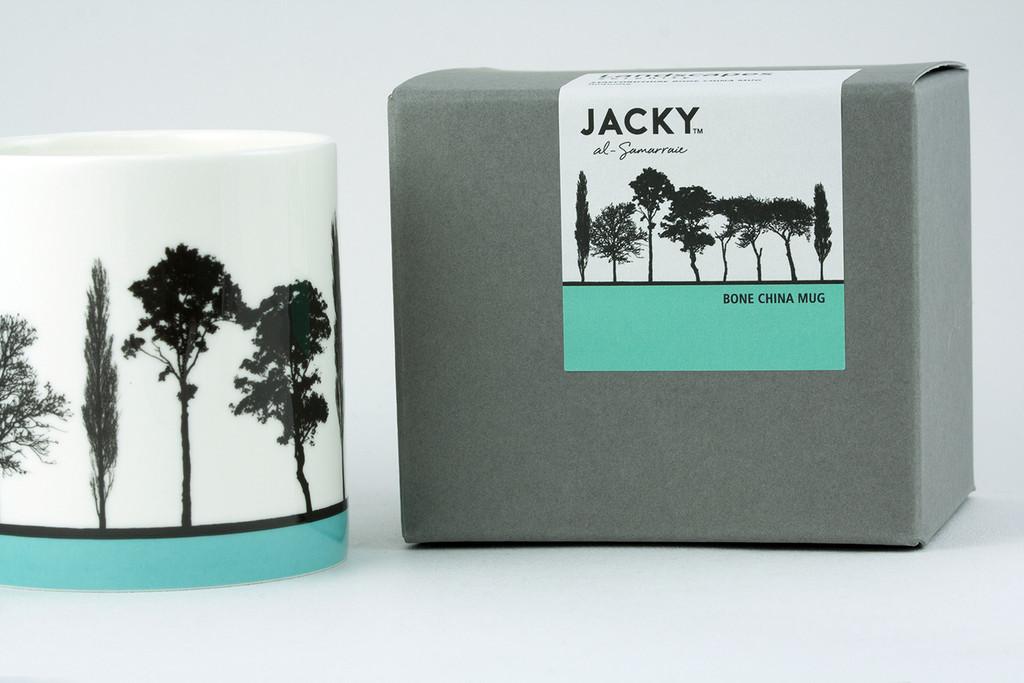 Jacky Al-Samarraie Turquoise Landscape Tree Bone China Mug with Gift Box