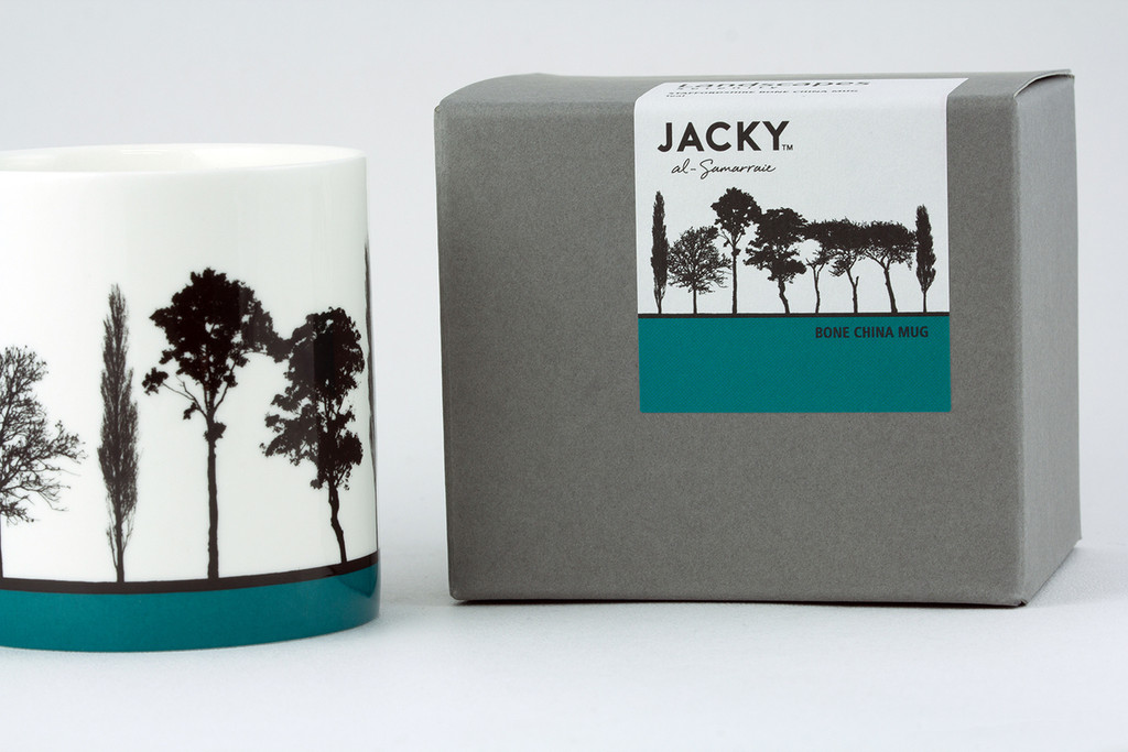 Jacky Al-Samarraie Teal Landscape Tree Bone China Mug with Gift Box