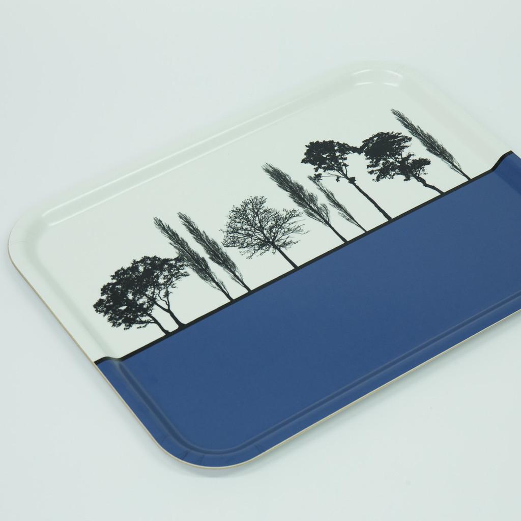 Detail of blue British landscape birch wood and melamine tray by designer Jacky Al-Samarraie