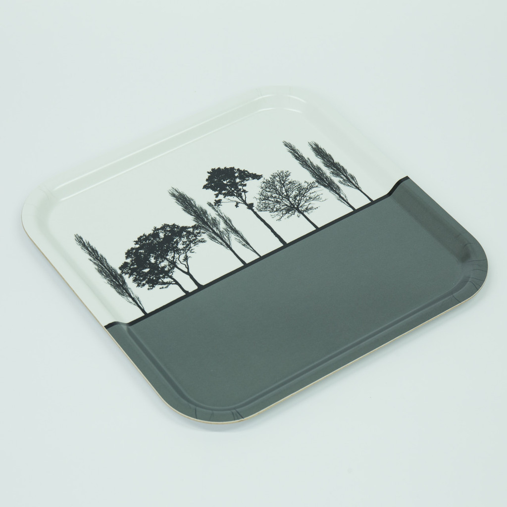 Detail of grey British landscape birch wood and melamine tray by designer Jacky Al-Samarraie