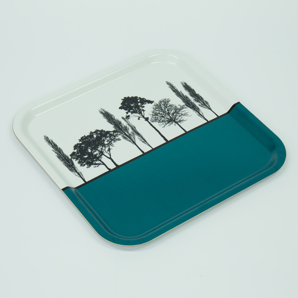 Detail of teal British landscape birch wood and melamine tray by designer Jacky Al-Samarraie