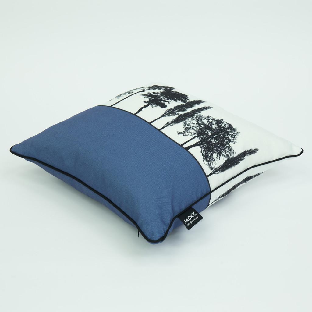 Side view of blue Engligh countryside cushion by designer Jacky Al-Samarraie