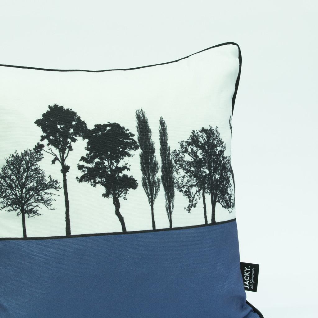 Blue landscape silhouette cushion by designer Jacky Al-Samarraie
