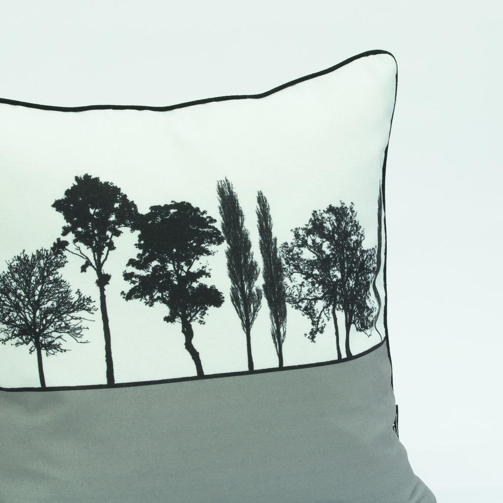 Grey landscape silhouette cushion by designer Jacky Al-Samarraie