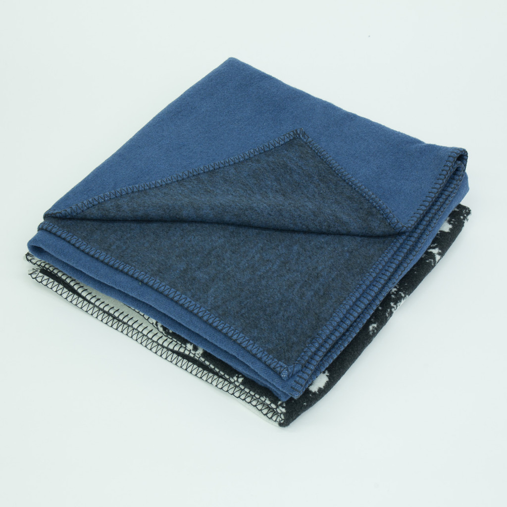 Blue woven cotton landscape throw blanket detail by designer Jacky Al-Samarraie