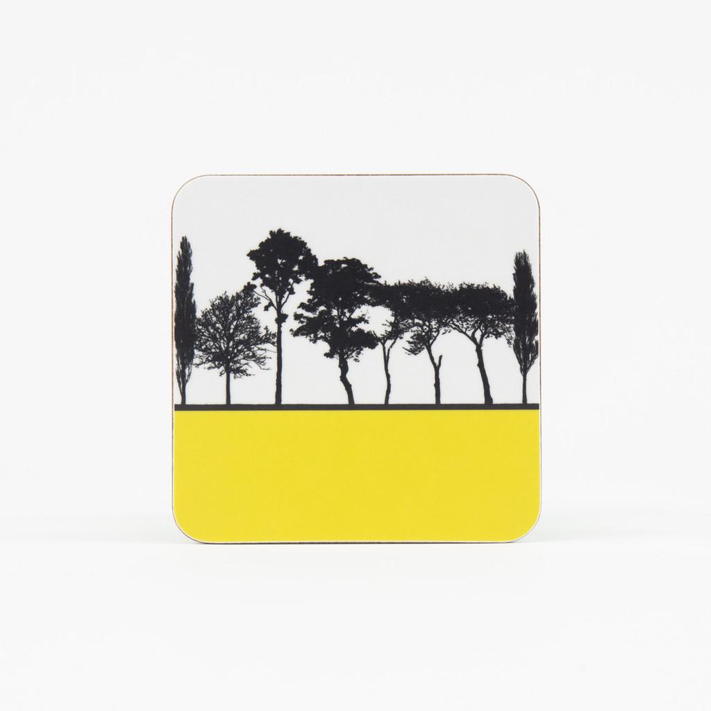 Mustard British landscape coaster by designer Jacky Al-Samarraie