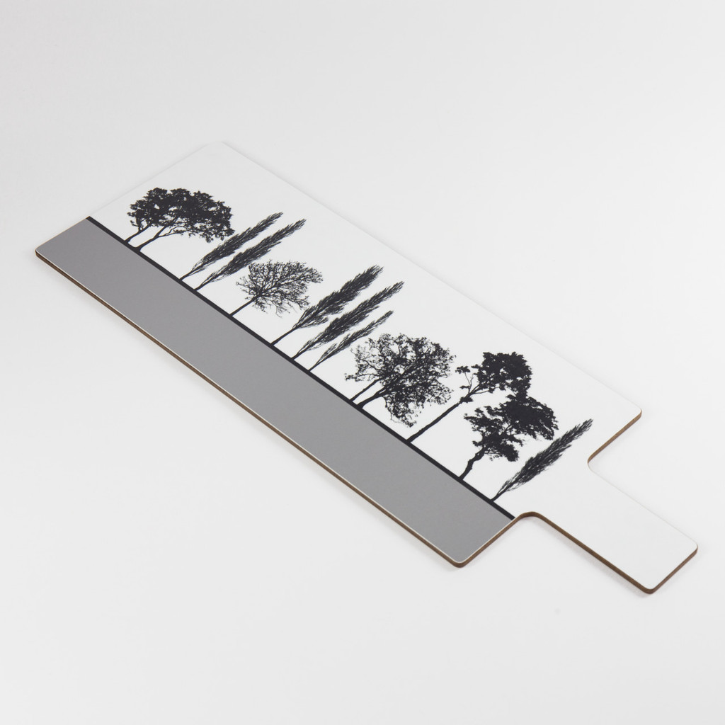 Detail of grey British landscape melamine chopping block by designer Jacky Al-Samarraie