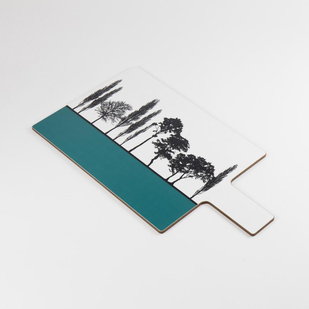 Detail of teal British landscape melamine chopping block by designer Jacky Al-Samarraie