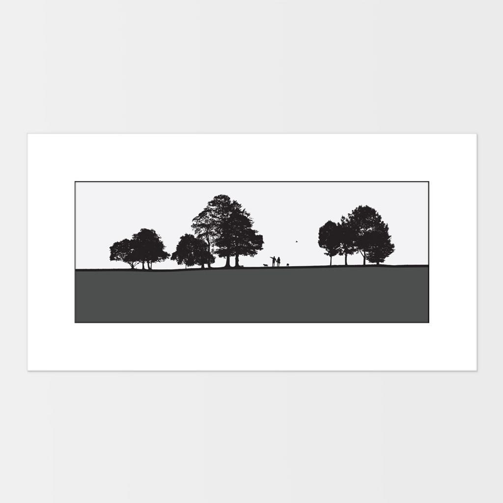 Landscape print of dog walkers in Roundhay Park in Leeds, West Yorkshire by designer Jacky Al-Samarraie.