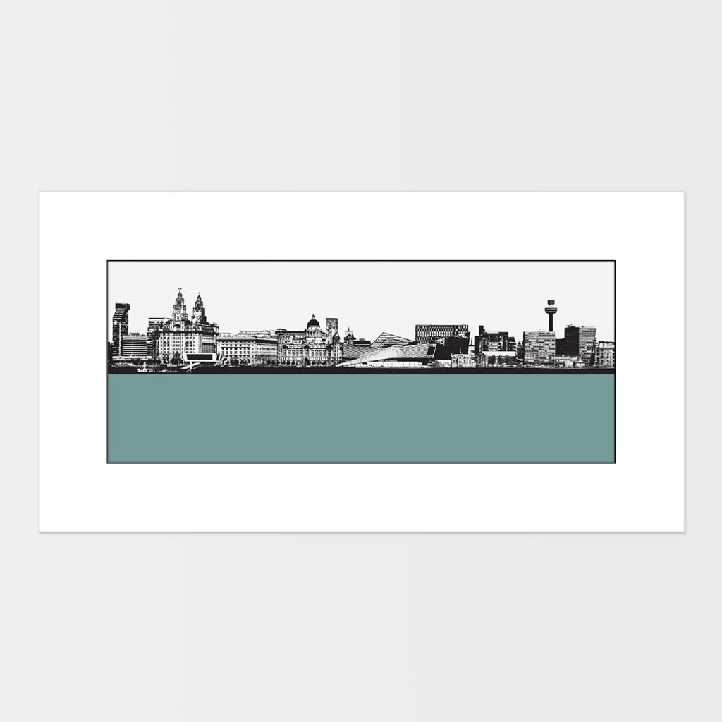 Landscape print of Liverpool city skyline from the River Mersey by designer Jacky Al-Samarraie.